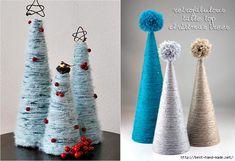 Christmas tree store - Christmas craft, Yarn Wrapped Tabletop Christmas Trees (700x479, 256Kb)