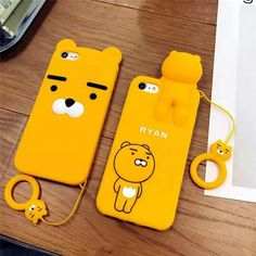 Cartoon Lion Bear Phone Case For iPhone 7 6 plus Soft Silicone Back Cover Protection Phone Shell Bags Iphone 6, Iphone Phone Cases, Phone Covers, Korean Phone Cases, Korean Phones, Cartoon Lion, Cute Cartoon, Kakao Friends, Silicone Phone Case