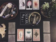 the wild unknown tarot image via @revolutionskin  tarot cards, alter, tarot spread, past, present, future, crystals, sage, succulents, moon