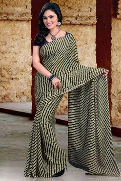Vibrant Black Color Casual Printed Saree