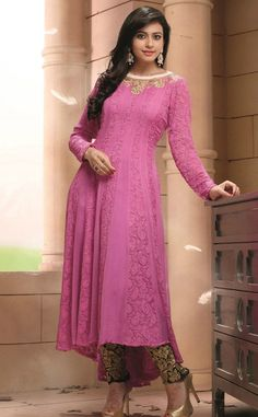 Rakul Preet Singh Georgette Machine Work Pink Semi Stitched Anarkali Suit - Y1077
