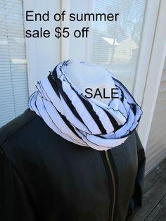 Black and White ruffled infinity scarf by PrairieFlowerCreate