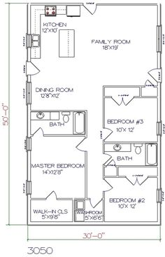 3 bed, 2 bath - 30' x 50' 1500 sq.ft.