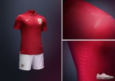 2013 England Away Kit by Nike - Kit & Detail England Kit, Lions, Polo Ralph Lauren, Nike, Detail, Red, Mens Tops, Lion
