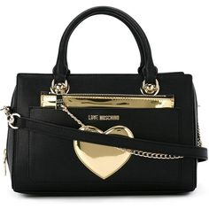 Love Moschino Heart Detail Chain Tote Bag (1.725 DKK) ❤ liked on Polyvore featuring bags, handbags, tote bags, black, heart shaped handbag, tote handbags, love moschino, love moschino purse and heart handbag