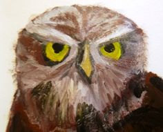 Practicing painting owls using dry brush technique in my personal sketchbook.