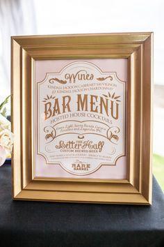 "Custom Wedding Reception Bar Menu Sign, 11"" x 14"", Printable, DIY, Sign, Gold, Rose, Ivory by SangriaStudios on Etsy https://www.etsy.com/listing/199433997/custom-wedding-reception-bar-menu-sign"