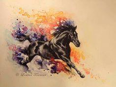 watercolor horse tattoo | Via kianna scott
