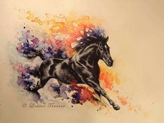 watercolor horse tattoo | Via kianna scott