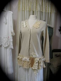 Cottage Shabby Sweater upcycled recycled chic altered couture clothing cardigan crochet lace ecru MEDIUM