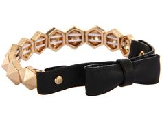 BCBGeneration Mademoiselle Gold and Black Stretch Bow Bracelet