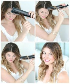 How To Get Beach Waves With A Flat Iron (hairstyles thin hair beach waves) Curled Hairstyles, Pretty Hairstyles, Straight Hairstyles, Wand Hairstyles, Curl Hair With Straightener, Good Hair Day, Hair Dos, Beach Waves, Hair Hacks