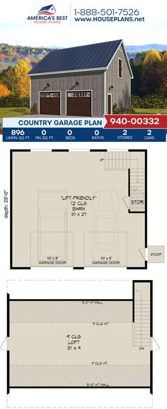 Complete with 896 sq. ft., Plan 940-00332 offers a Country garage with storage room and a loft. #architecture #houseplans #housedesign #homedesign #homedesigns #architecturalplans #newconstruction #floorplans #dreamhome #dreamhouseplans #abhouseplans #besthouseplans #newhome #newhouse #homesweethome #buildingahome #buildahome #residentialplans #residentialhome Best House Plans, Country House Plans, Dream House Plans, Dormer Windows, Storage Room, New Construction, Facade, Building A House, Architecture Design