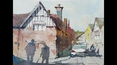 Plein air painting - How it's done. A watercolor demo of an English vill...