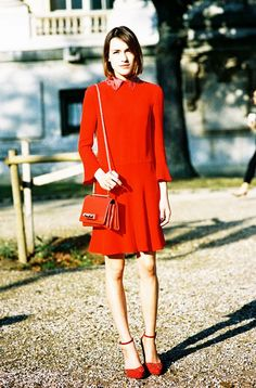 Pick something stylish and a little flashy this Christmas, like this all-red festive dress.