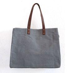 Ash Waxed Canvas Carryall Tote Bag