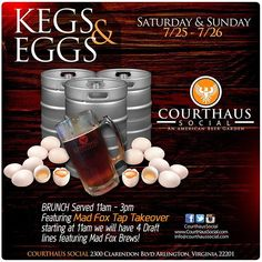 This weekend!  #kegsandeggs #madfoxbrewing #taptakeover #dcevents @courthaussocial by madfoxbrewing