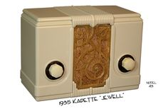 """Radio Plaskon-Bakelite - Kadette    Model 43 """"Jewell""""    Made by International Radio Corp, Ann Arbor, MI.     Charles Verschop started the Company in 1933.The Kadetts came in five different colors.  Original cost was $21.00      (1933)"""