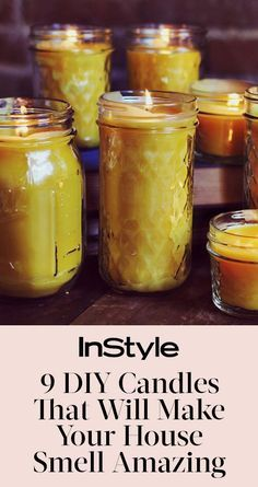 DIY Candles That Will Make Your House Smell Amazing Add a festive fragrance to your home with these fun homemade candle ideas Mason Jar Candles, Beeswax Candles, Mason Jar Crafts, Diy Aromatherapy Candles, Homemade House Decorations, Homemade Scented Candles, Perfume Diesel, Diy Kit, Essential Oil Candles