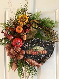 FALL WREATHS For Front Door Welcome Wreath Fall Door | Etsy Autumn Wreaths For Front Door, Fall Door, Fall Wreaths, Door Wreaths, Harvest Decorations, Flower Decorations, Seasonal Decor, Diy Wreath, Grapevine Wreath