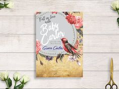 rustic baby shower, floral rustic baby shower, baby shower invite, fall in love baby shower #BBS205 by BRIDETALKpaperie on Etsy