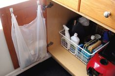 using cabinet & closet doors for storage.  a lot of ideas for makeup, nail polish, spices, dry erase boards, etc.