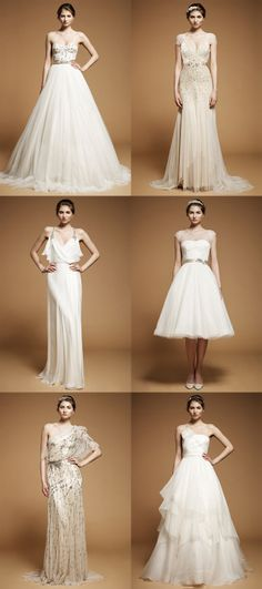 Jenny Packham. First row is my have. Dress in the second column is up there on my shouldawouldacoulda list.