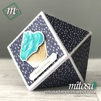 Handmade Faceted Gift Box for Lush Bath Bomb using Naturally Eclectic DSP, Sweet Cupcake Stamp Set, Cupcake Cutout Framelits, Teeny Tiny Sentiment CLEAR Mount Stamp and Classic Label Punch by Stampin' Up! available to order from Mitosu Crafts, UK Online Shop