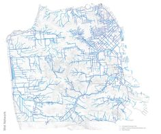 @Ben Golder 's mapping of drainage paths from sewer / stormwater lines