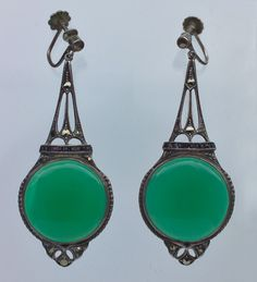 -Art Deco Earrings, German, 1925, silver, chalcedony, onyx and marcasite