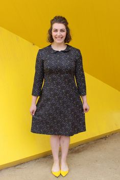 Jenna Dress By Hand London Pattern with The Fabric Store By Hand London, Herringbone Stitch, Silk Crepe, Darts, Collar Dress, Fitted Bodice, Houndstooth, Dress Patterns, Vintage Inspired