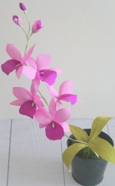 The listing is for 1 stem of paper orchid completely handmade from paper,measuring 20 inch high, each stem has 5 purple flowers measuring 5 inch