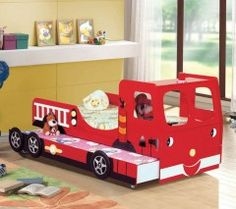 Fire Engine Novelty Bed with Trundle. Buy discounted beds, kids beds, novelty beds and kids bedroom suites now at Bed Online.