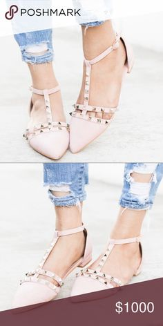 9dafe12b1a679 Blush Chic Studded T-Strap Flats The Blush Chic Studded T