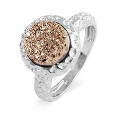 Sterling Silver Hammered Design Rose Drusy Ring $68