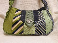Vintage mens necktie purse in blue and green by ChristyRTrevino