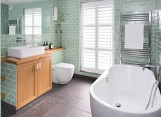 Modern Green Tiled Bathroom