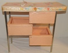 Vintage 1960's Badger Wicker Basket Baby Doll Changing Table Nursery Furniture