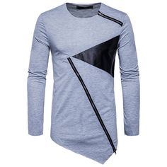 s Irregular Hem Patchwork Casual T-shirt ($24) ❤ liked on Polyvore featuring men's fashion, men's clothing, men's shirts, men's t-shirts, mens zip t shirt, mens collar t shirts, mens zip shirt, mens zipper shirts and mens collared shirt