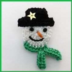 Crochet Christmas Snowman brooch £3.50