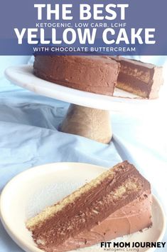 The best Keto Yellow cake tastes like it came from a bakery. With that pudding taste we've come to love in boxed cakes and an airy chocolate buttercream - which all clocks in at net carbs per slice - you won't miss boxed cake ever again. Sugar Free Desserts, Low Carb Desserts, Low Carb Recipes, Dessert Recipes, Atkins Desserts, Keto Cake, Keto Cheesecake, Mousse, Keto Friendly Desserts
