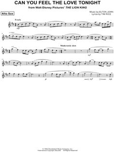 """Can You Feel the Love Tonight - Alto Sax"" from 'The Lion King' Sheet Music (Alto Saxophone Solo) - Download  Print"