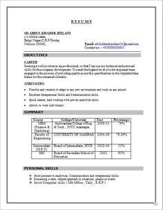Resume Format Normal Format Normal Resume 2 Resume Format