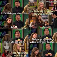 "S1 Ep1 ""Girl Meets World"" - Cory, Maya and Riley Maya writes an excuse note for riley and signed riley's dad's name on it lol"