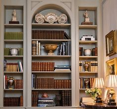 So tempted to paint the back of my shelves!  Habitually Chic®: Books, Books, and More Books