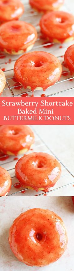 Strawberry Shortcake Baked Mini Buttermilk Donuts - An easy recipe for strawberry shortcake baked mini buttermilk donuts. These delicious glazed strawberry donuts are perfect for breakfast, Valentine's Day or Tea Party by ilonaspassion.com @Ilona's Passion