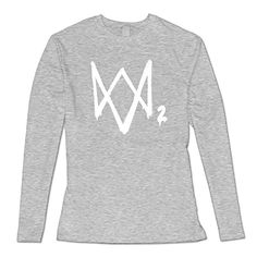 Watch Dogs 2 Logo2 Womens Hot Topic Slim Fit Long Sleeve T-Shirt Ash US Size L - Brought to you by Avarsha.com