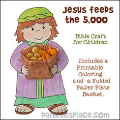 Jesus Feed the Five Thousand Bible Craft for Sunday School - Picture of boy hold a folded paper plate basket with fish and oyster crackers in it from www.daniellesplace.com.  Click on the picture to go to Danielle's Place to get this pattern.