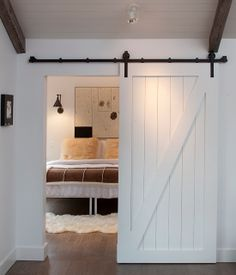 White sliding barn door salvaged wood country home house