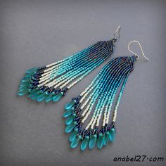 Fringe triangle brick stitch earrings - can be adapted and made using fringe earring pattern and modifying